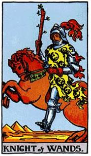 Cavaliere di Bastoni - Arcani Minori - Tarocchi Rider-Waite