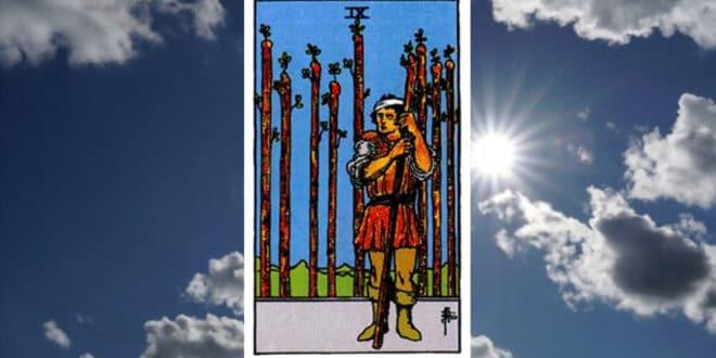 Carta dei Tarocchi Nove di Bastoni - Arcani Minori - Significato
