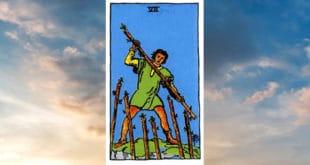 Carta dei Tarocchi Sette di Bastoni - Arcani Minori - Significato